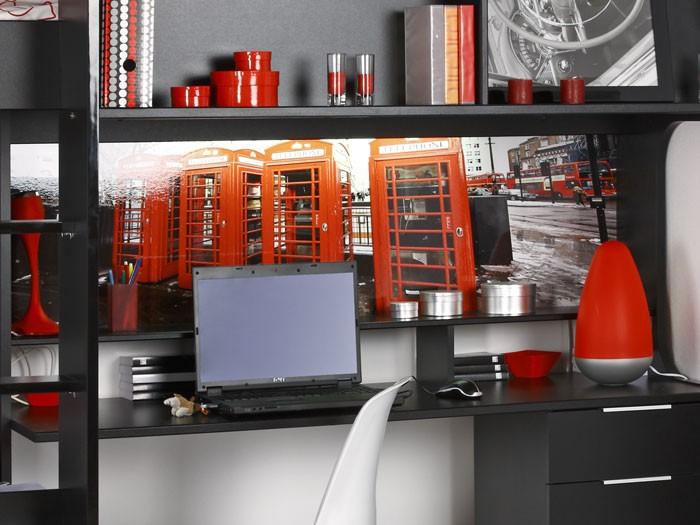 Jugendbett science 2 204x183x117cm schwarz hochbett for Jugendzimmer hochbett schreibtisch