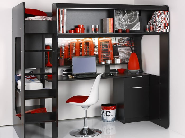 jugendbett science 2 204x183x117cm schwarz hochbett schreibtisch jugendzimmer ebay. Black Bedroom Furniture Sets. Home Design Ideas