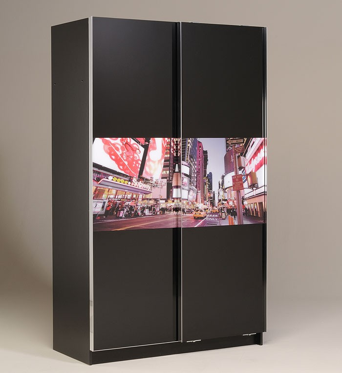 schwebet renschrank science 3 121x201x60cm schwarz kleiderschrank jugendzimmer ebay. Black Bedroom Furniture Sets. Home Design Ideas