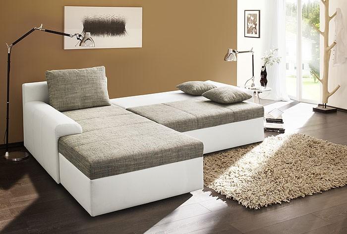 ecksofa sharon 250x193cm grau wei couch sofa schlafsofa. Black Bedroom Furniture Sets. Home Design Ideas