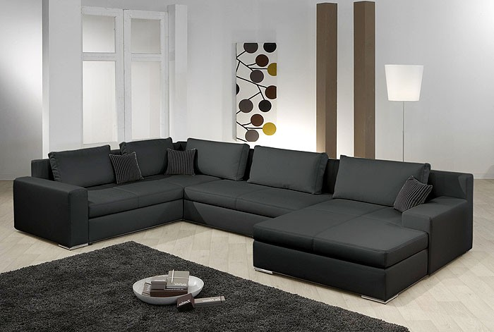 wohnlandschaft hiromi 378x240 170cm schwarz couch sofa. Black Bedroom Furniture Sets. Home Design Ideas