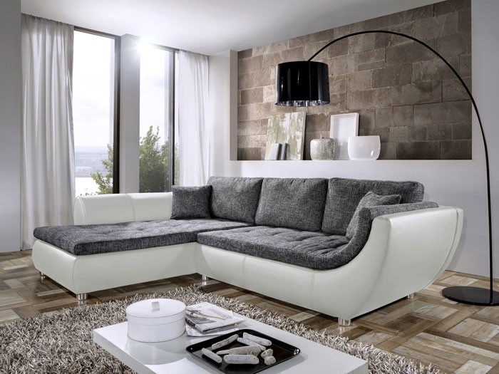 wohnlandschaft avery 287x196cm anthrazit wei couch sofa ecksofa polsterecke ebay. Black Bedroom Furniture Sets. Home Design Ideas