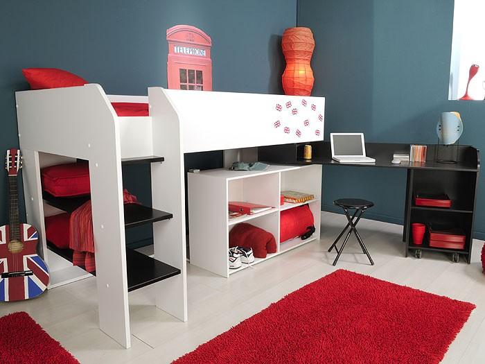 hochbett weiss salve 3 205x125x119cm mit schreibtisch. Black Bedroom Furniture Sets. Home Design Ideas