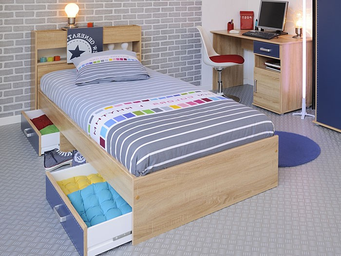 jugendbett 90x200cm mit bettkasten und regal eiche nb kinderbett bett court 5 ebay. Black Bedroom Furniture Sets. Home Design Ideas