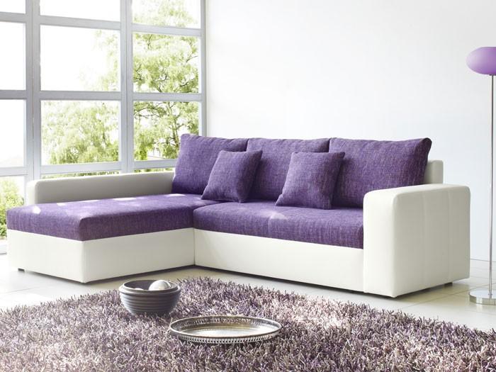 Ecksofa vida 244x174cm lila wei couch sofa wohnlandschaft for Ecksofa lila