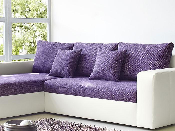 ecksofa vida 244x174cm lila wei couch sofa wohnlandschaft polsterecke eckcouch ebay. Black Bedroom Furniture Sets. Home Design Ideas