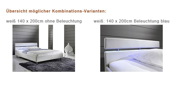 polsterbett 140x200cm jovin wei mit led beleuchtung kunstleder bett ehebett ebay. Black Bedroom Furniture Sets. Home Design Ideas