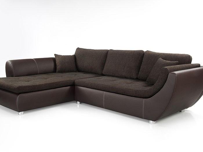 Wohnlandschaft Braun Kunstleder ~ Wohnlandschaft Avery, 287x196cm, Webstoff braun, Kunstleder braun Sofa