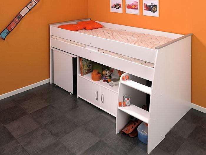 hochbett rean 1 204x110x177cm wei kinderbett schreibtisch. Black Bedroom Furniture Sets. Home Design Ideas