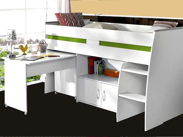 hochbett kinderbett rean 204x110x177cm wei kinderzimmer bett schreibtisch ebay. Black Bedroom Furniture Sets. Home Design Ideas