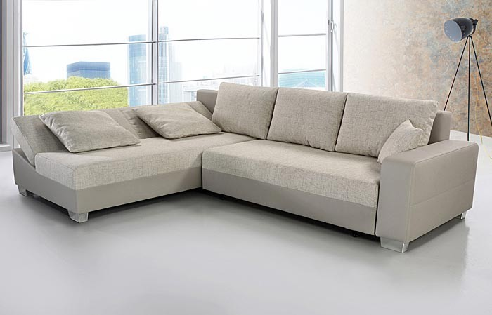 sofa couch isola 285x209cm webstoff beige kunstleder beige wohnlandschaft ebay. Black Bedroom Furniture Sets. Home Design Ideas