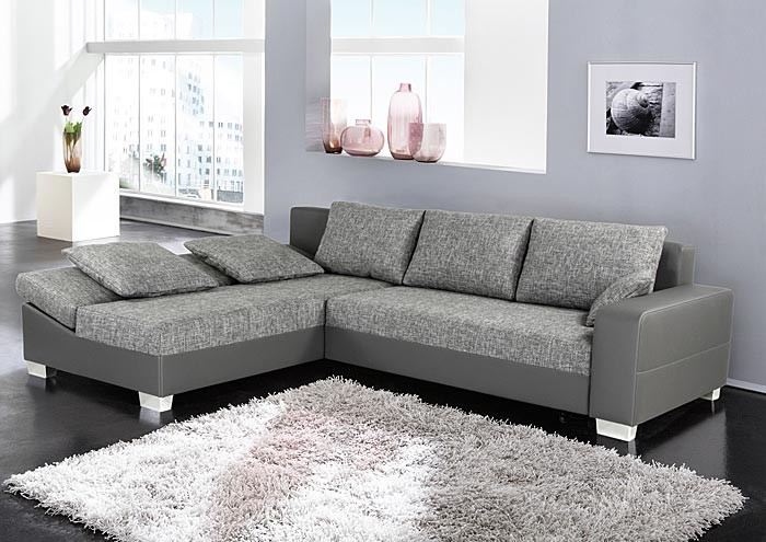 sofa couch isola 285x209cm webstoff hellgrau kunstleder grau wohnlandschaft ebay. Black Bedroom Furniture Sets. Home Design Ideas