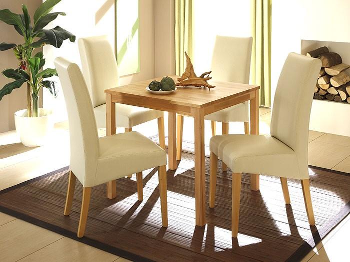 Esstisch pavel 75x75x75cm buche lackiert massivholztisch for Wohnzimmertisch und esstisch in einem