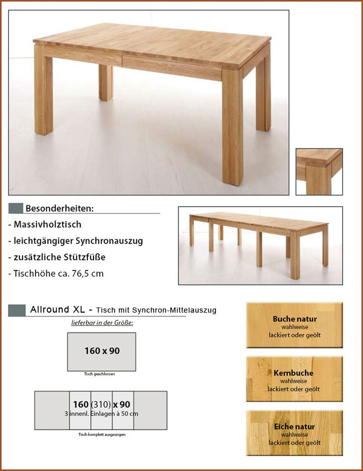 esstisch allround xl 160 310x90x76cm kernbuche lackiert ausziehbar tisch massiv ebay. Black Bedroom Furniture Sets. Home Design Ideas