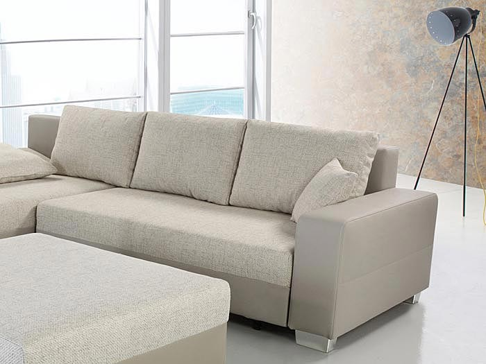 couch schlafsofa isola 285x209cm mit hocker hellbeige beige wohnlandschaft ebay. Black Bedroom Furniture Sets. Home Design Ideas