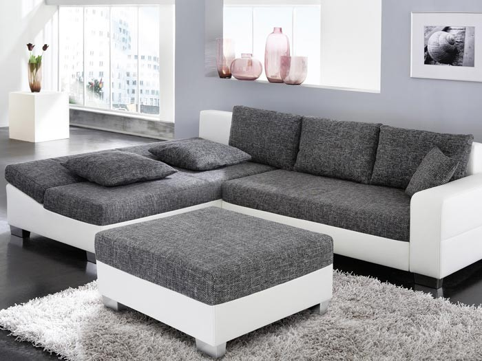 couch schlafsofa isola 285x209cm mit hocker anthrazit wei wohnlandschaft. Black Bedroom Furniture Sets. Home Design Ideas