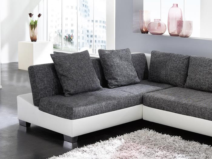 couch schlafsofa isola 285x209cm mit hocker anthrazit wei wohnlandschaft. Black Bedroom Furniture Sets. Home Design Ideas