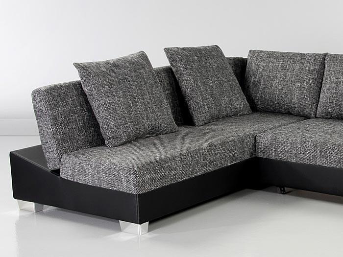 couch schlafsofa isola 285x209cm mit hocker anthrazit schwarz polsterecke ebay. Black Bedroom Furniture Sets. Home Design Ideas