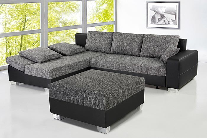 couch schlafsofa isola 285x209cm mit hocker anthrazit schwarz polsterecke ebay. Black Bedroom Furniture Sets. Home Design Ideas