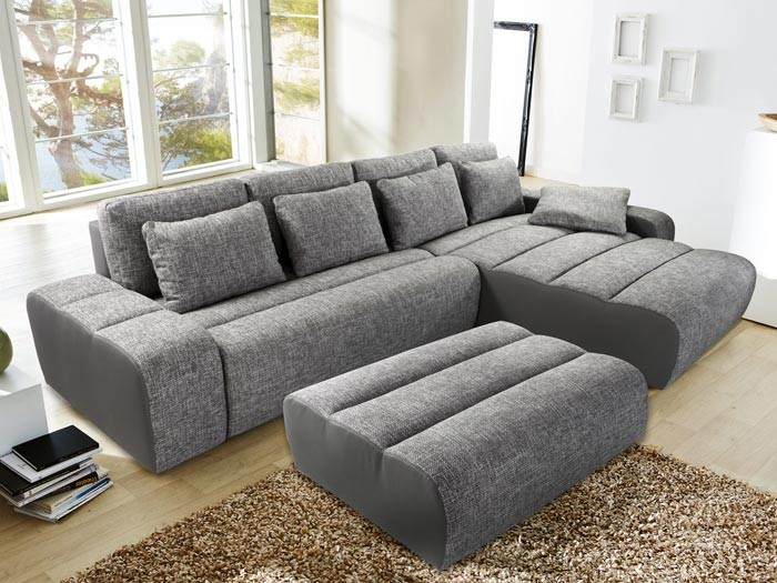 ecksofa brescia mit hocker 338x212cm hellgrau grau wohnlandschaft schlafsofa ebay. Black Bedroom Furniture Sets. Home Design Ideas