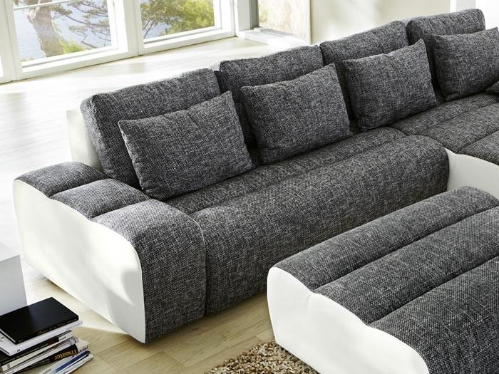 ecksofa brescia mit hocker 338x212cm anthrazit wei wohnlandschaft schlafsofa ebay. Black Bedroom Furniture Sets. Home Design Ideas