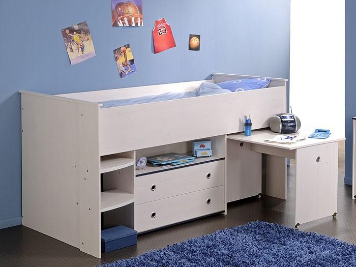 hochbett snoopy 1 110x206x113cm mit schreibtisch kiefer. Black Bedroom Furniture Sets. Home Design Ideas