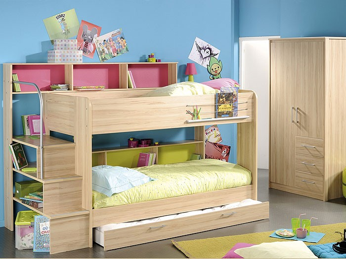 kinderzimmer twin 3 etagenbett mit bettkasten. Black Bedroom Furniture Sets. Home Design Ideas