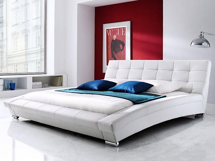 polsterbett wei bett 180x200 kunstlederbett bettgestell. Black Bedroom Furniture Sets. Home Design Ideas