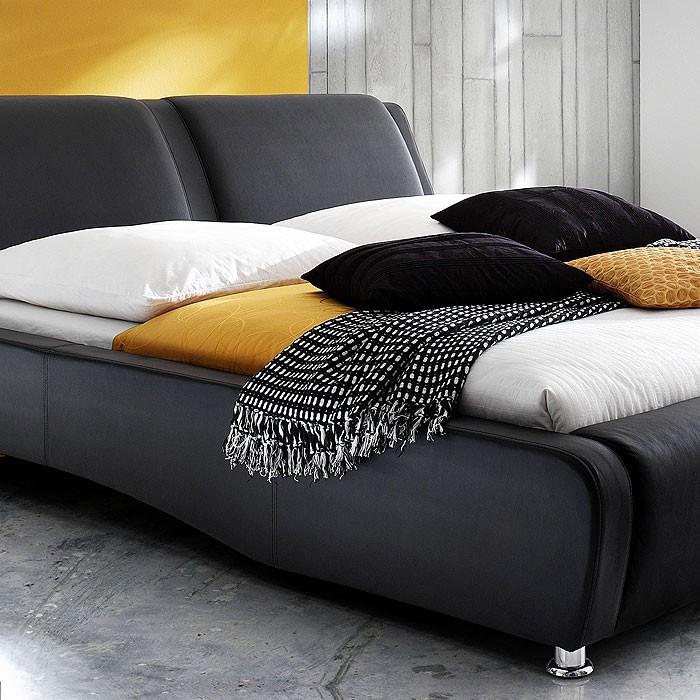 polsterbett schwarz bett 180x200 bettgestell kunstlederbett designerbett noel ebay. Black Bedroom Furniture Sets. Home Design Ideas