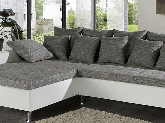 Eckcouch madeleine 326x213cm wei schwarz couch sofa for Eckcouch schwarz