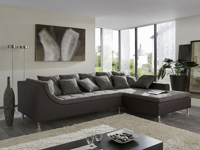 eckcouch madeleine 326x213cm webstoff braun kunstleder braun wohnbereiche wohnzimmer sofa
