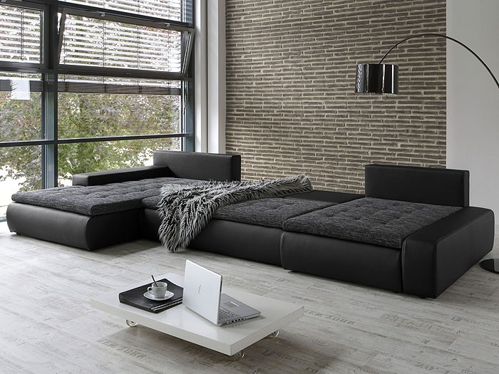 wohnlandschaft cayenne 389x212 162cm schwarz sofa ecksofa. Black Bedroom Furniture Sets. Home Design Ideas