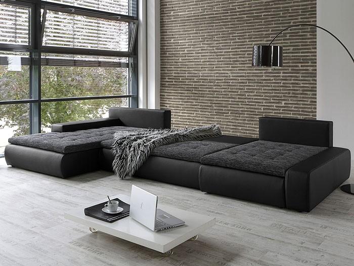 Wohnlandschaft cayenne 389x212 162cm schwarz sofa ecksofa for Wohnlandschaft puntiro mit schlaffunktion kunstleder strukturstoff