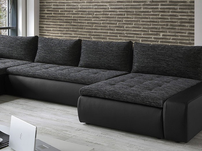 wohnlandschaft cayenne 389x212 162cm schwarz sofa ecksofa polsterecke schlafsofa. Black Bedroom Furniture Sets. Home Design Ideas