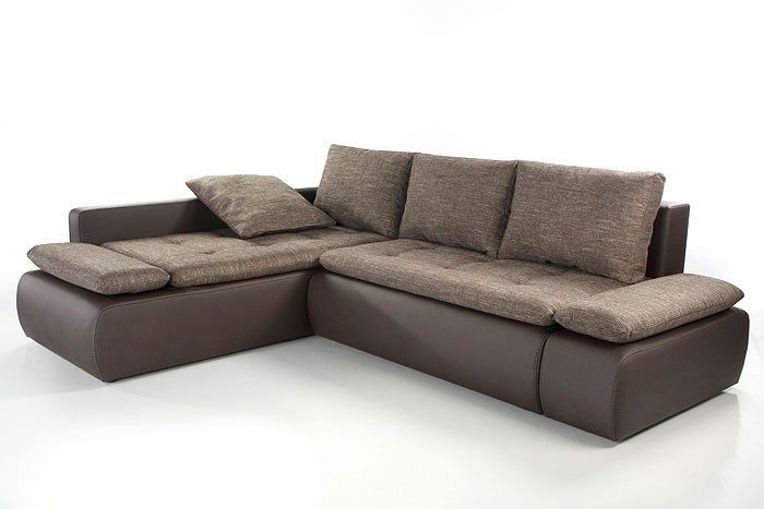 Couch Sunrise, 259x201cm, Webstoff braun, Kunstleder braun ...