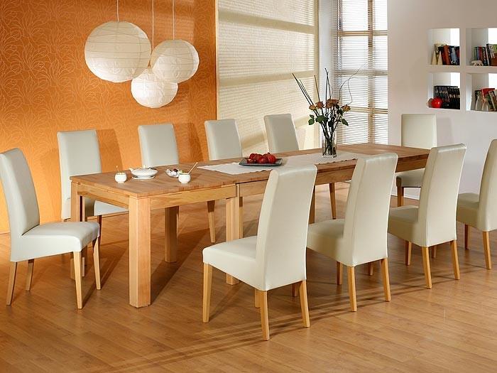 esstisch mit st hlen kernbuche kunstleder beige 1x. Black Bedroom Furniture Sets. Home Design Ideas