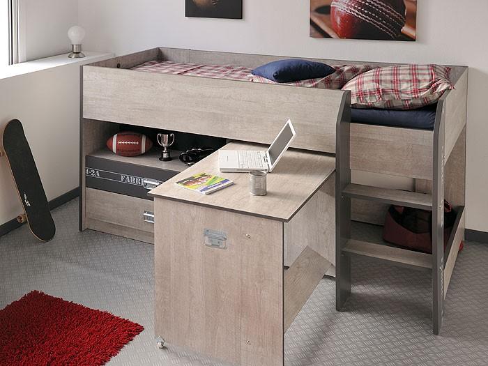 hochbett jugendbett fabien 9 126x125x204cm esche grau. Black Bedroom Furniture Sets. Home Design Ideas