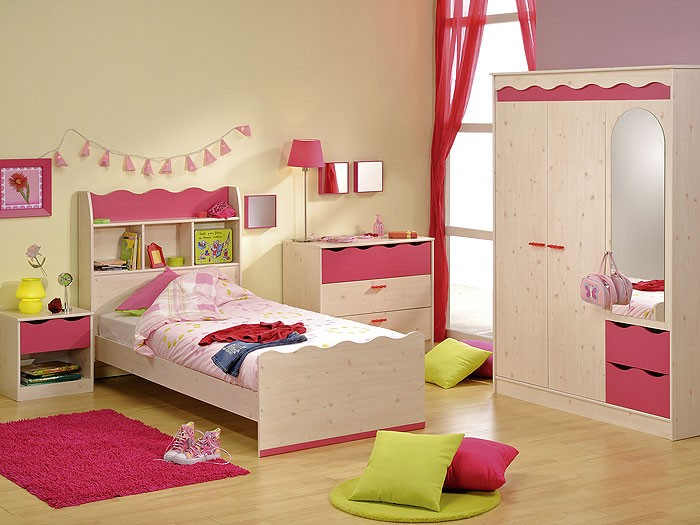 kinderzimmer komplett kiefer nb pink schrank bett. Black Bedroom Furniture Sets. Home Design Ideas