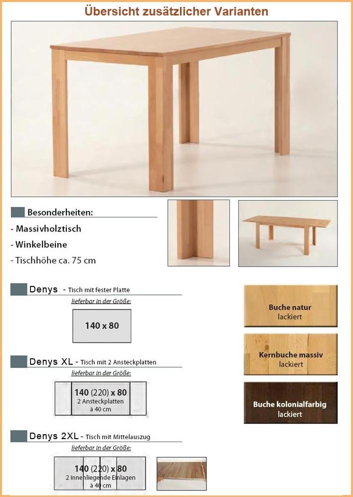 esstisch denys 2xl 140 220x80x75cm massivholztisch mittelauszug holztisch massiv ebay. Black Bedroom Furniture Sets. Home Design Ideas