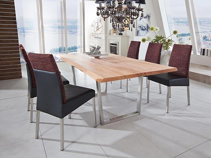 holztisch montana 180 240x100cm baumoptik edelstahl esstisch massivholztisch ebay. Black Bedroom Furniture Sets. Home Design Ideas