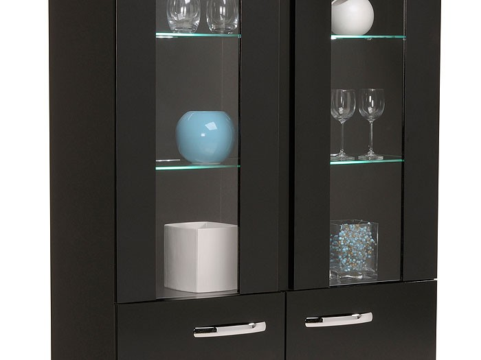vitrine highboard aries 7 108x182x42cm schwarz led beleuchtung glasvitrine ebay. Black Bedroom Furniture Sets. Home Design Ideas