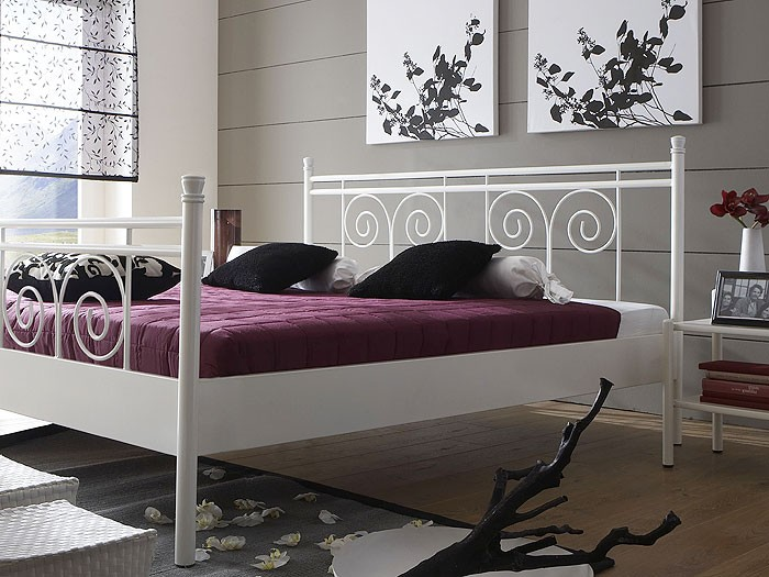 metallbett bettgestell mykonos wei struktur versch gr en eisenbett bett ebay. Black Bedroom Furniture Sets. Home Design Ideas