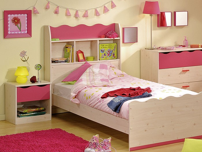 kinderbett lotta 4 mit nachttisch 90x200cm kiefer nb pink kinderzimmer bett ebay. Black Bedroom Furniture Sets. Home Design Ideas