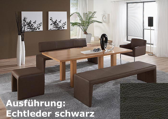 sitzbank laney 180cm schwarz echtleder hocker bank ebay. Black Bedroom Furniture Sets. Home Design Ideas