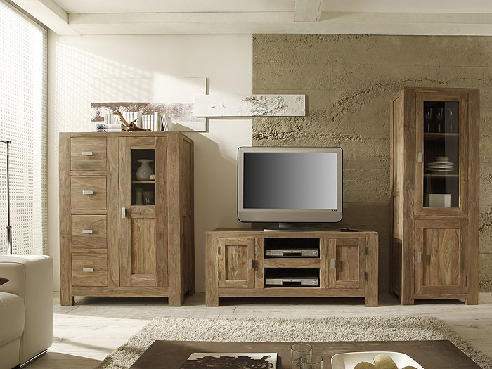 schrank salima sheesham 100x140 highboard vitrine buffet wohnzimmerschrank na 21 ebay. Black Bedroom Furniture Sets. Home Design Ideas