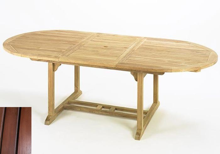 gartentisch oval 180 240 x115x75cm ausziehbar karriholz. Black Bedroom Furniture Sets. Home Design Ideas