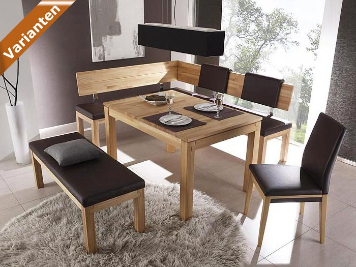eckbank luca middle links 208x171cm in varianten kernbuche holzbank sitzecke ebay. Black Bedroom Furniture Sets. Home Design Ideas
