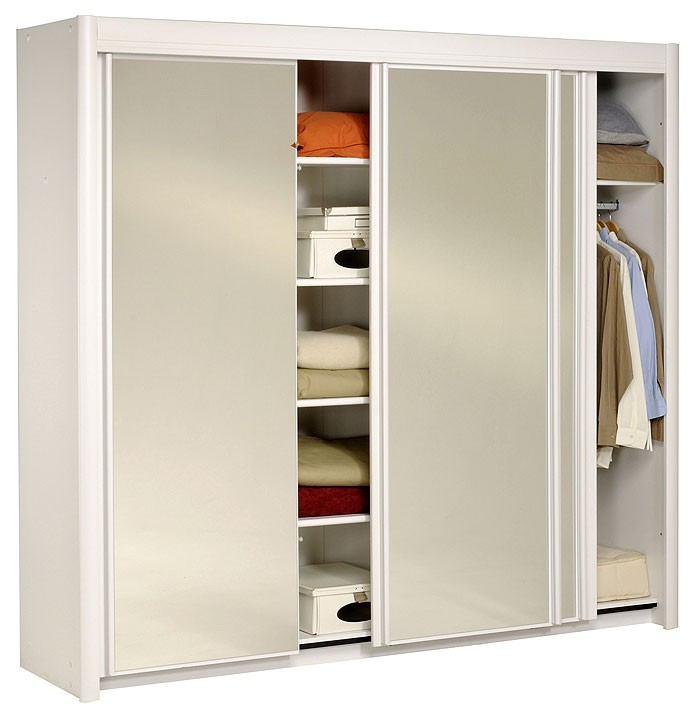 schwebet renschrank weiss 234x217x61cm spiegelt ren kleiderschrank carolin 4 ebay. Black Bedroom Furniture Sets. Home Design Ideas