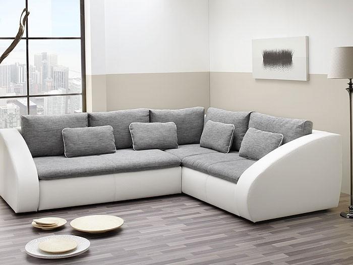polsterecke grau wei 283x230cm sofa couch schlafsofa. Black Bedroom Furniture Sets. Home Design Ideas