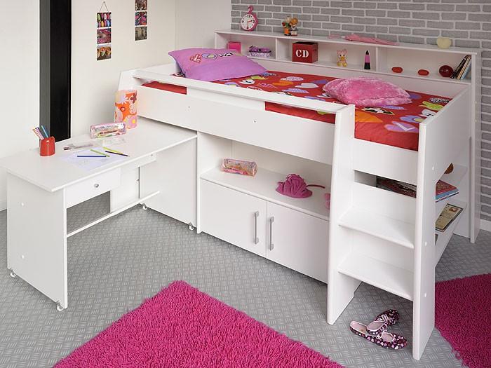 Kitchen Island From Ikea Cabinets ~ Hochbett, Kinderbett Sway 1B, 211x132x130cm weiß, Kinderzimmer Bett